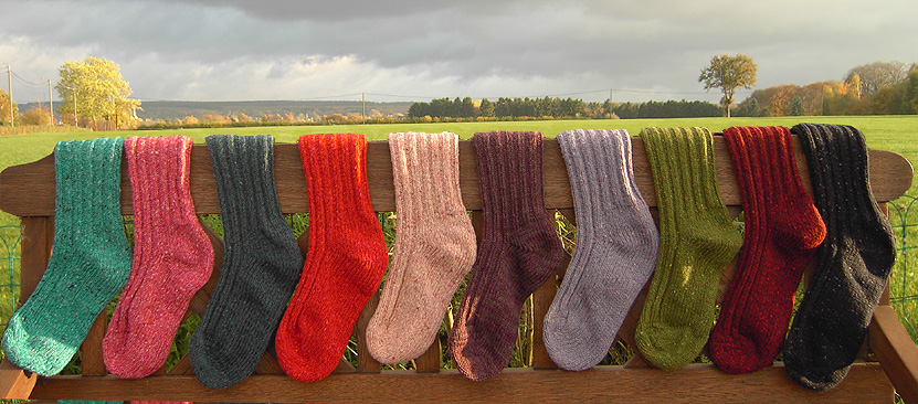 Warme, bunte Wollsocken